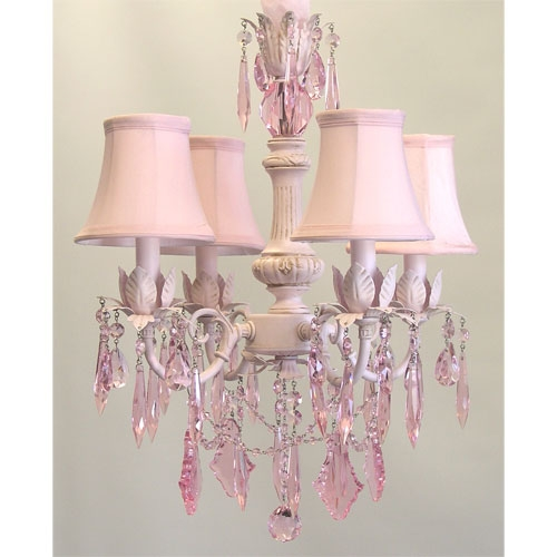 Cinderella Chandelier With Pink Crystals Chandeliers Pink Pertaining To Chandeliers For Kids (Image 12 of 25)