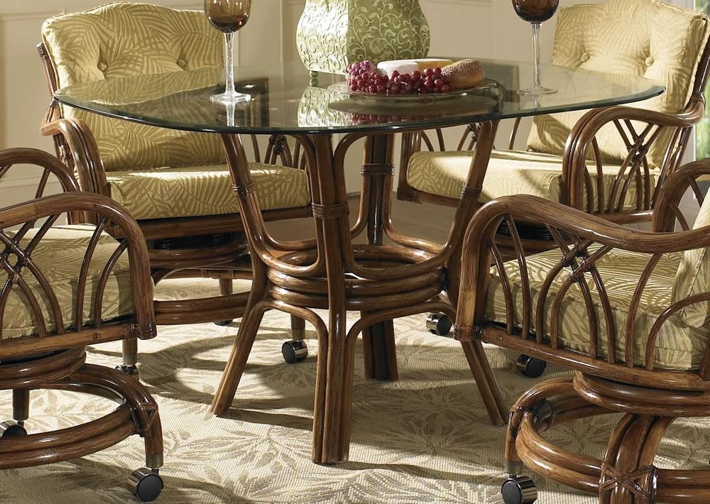 Classic Rattan Grand Isle Dining Table With Glass Top – Classic Within Wicker And Glass Dining Tables (Image 5 of 20)