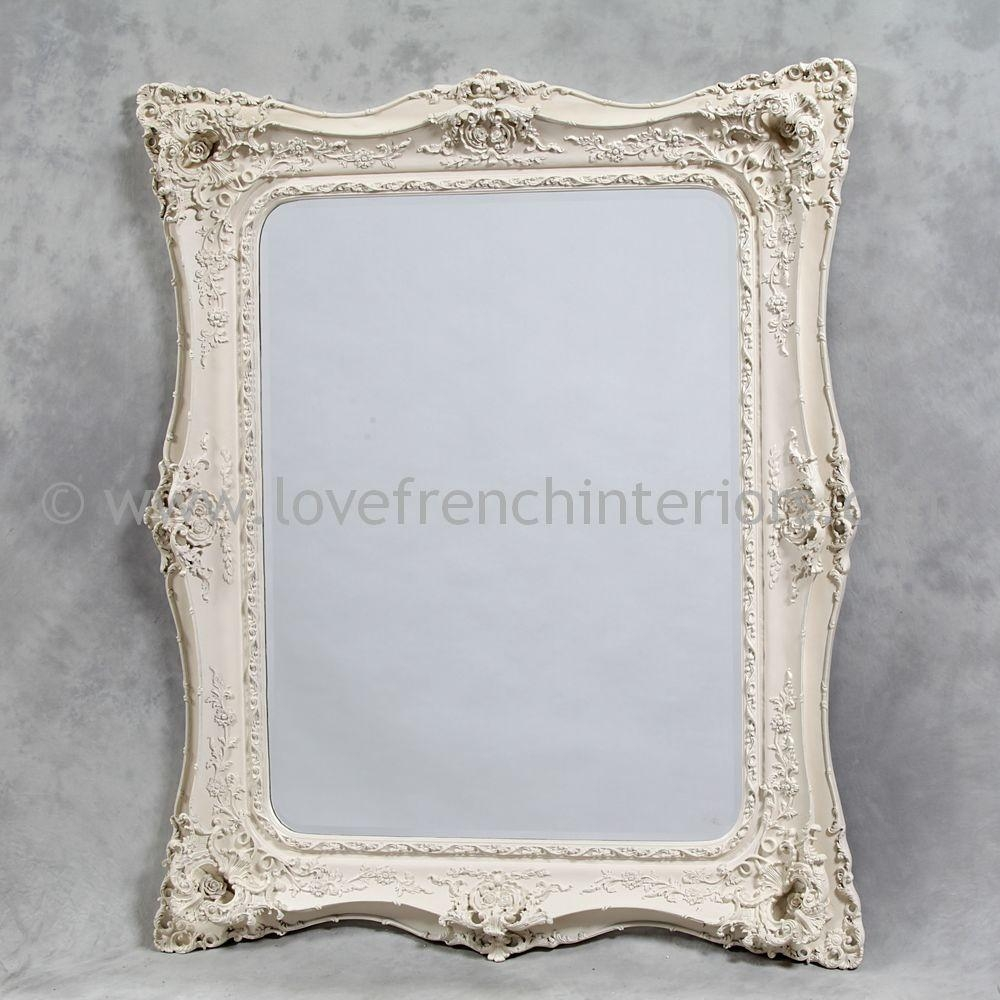 Classic Styled Antique White French Mirror 2 Within White French Mirror (Image 3 of 20)