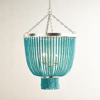 Clear Hanging Beads Six Light Chandelier Throughout Turquoise Beads SixLight Chandeliers (View 16 of 25)