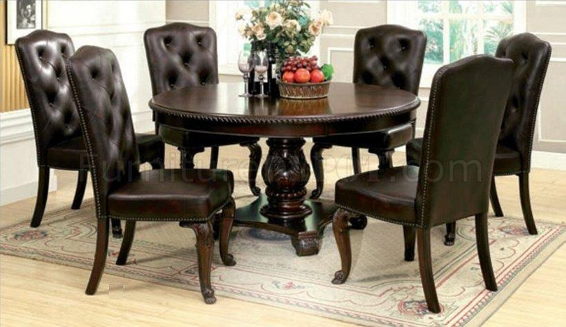 Cm3319Rt Bellagio Dining Table In Brown Cherry With Options Throughout Bellagio Dining Tables (Image 13 of 20)