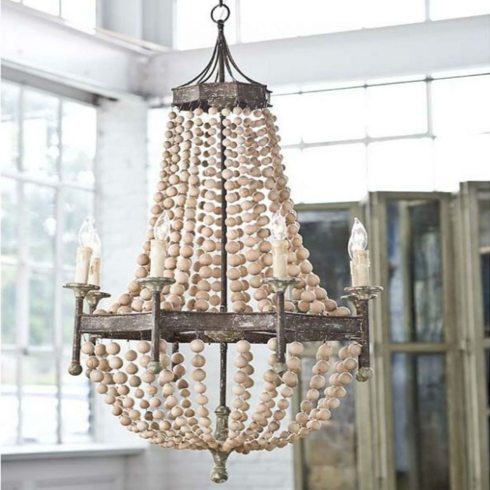Coastal Chandeliers Iron Rope Driftwood Sea Glass Nautical Inside Turquoise Wood Bead Chandeliers (Image 14 of 25)