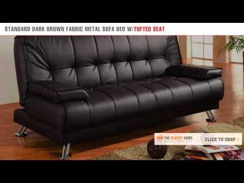 Coaster Modern Standard Dark Brown Fabric Metal Futon Sofa Bed Pertaining To Coaster Futon Sofa Beds (Image 12 of 20)