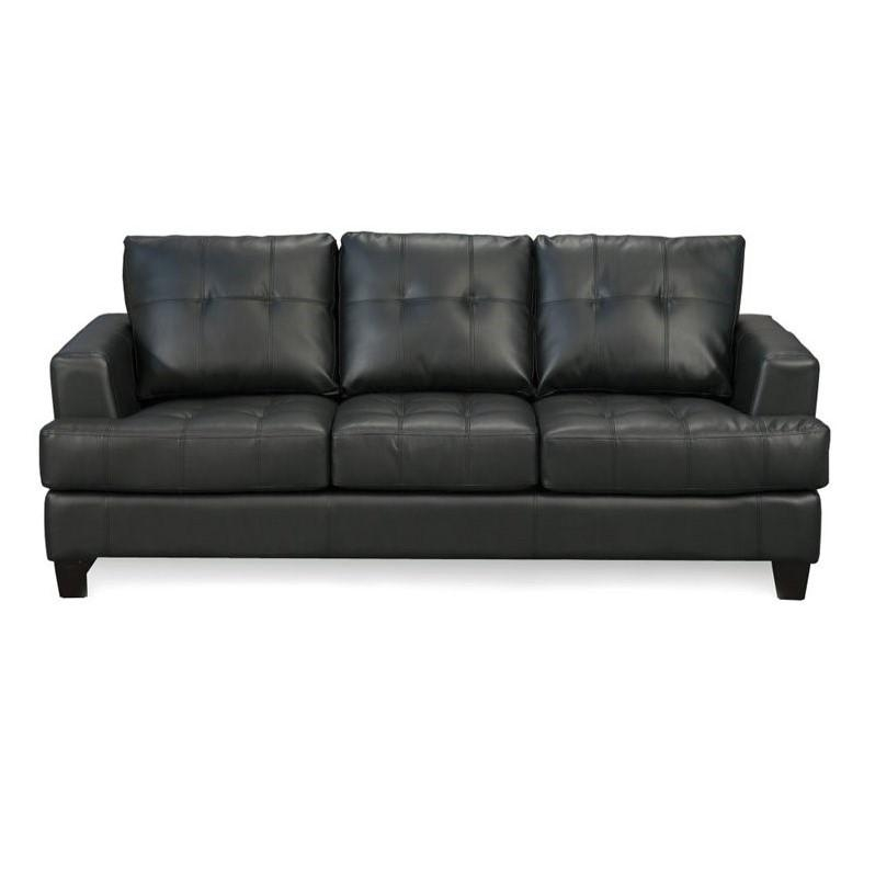 Coaster Samuel Black Contemporary Leather Sofa – 501681 Regarding Contemporary Black Leather Sofas (View 3 of 20)