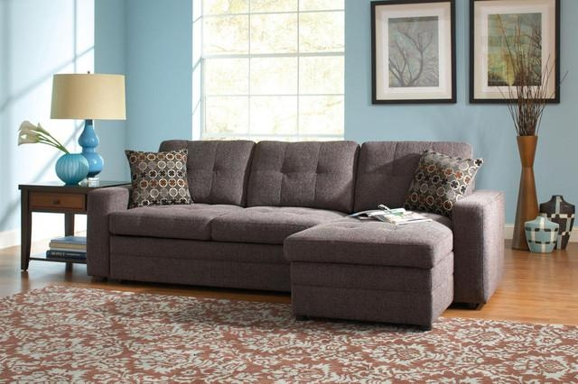 Coaster Small Chenille Storage Sectional Sofa Left Chaise Sleeper Regarding Chenille Sectional Sofas With Chaise (Image 12 of 20)
