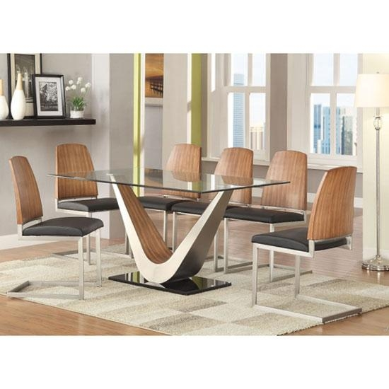 Cobra Clear Glass Top Dining Table In Walnut Base And 6 Intended For 6 Seater Glass Dining Table Sets (Image 13 of 20)