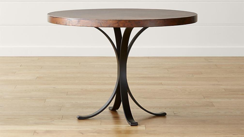 "Cobre 42"" Round Iron Bistro Table With Copper Top (Image 5 of 20)"