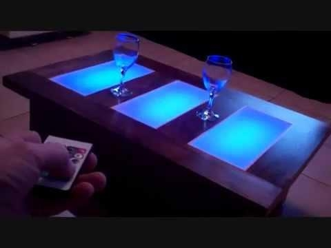 Coffee Table Led Lights Unusual Modern Furniture – Youtube Throughout Dining Tables With Led Lights (Image 6 of 20)