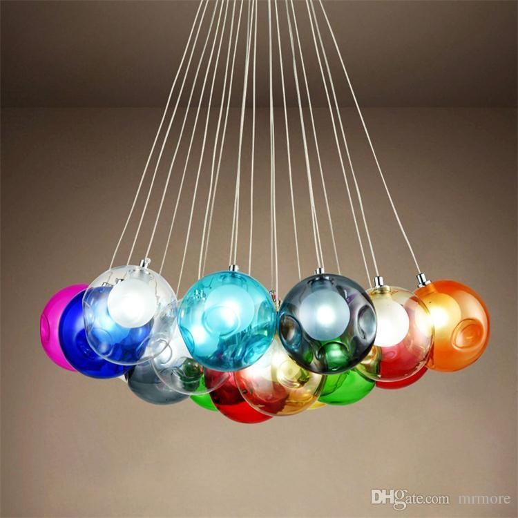 Colorful Glass Ball G4 Led Chandelier Lamp 3 31heads Of Glass In Turquoise Ball Chandeliers (Image 19 of 25)