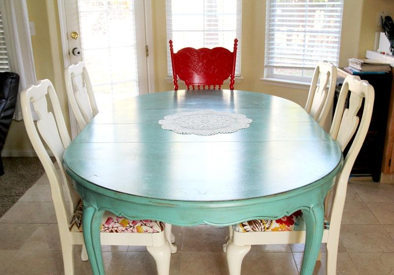 Colorful Painted Dining Table Inspiration Regarding Green Dining Tables (Image 11 of 20)