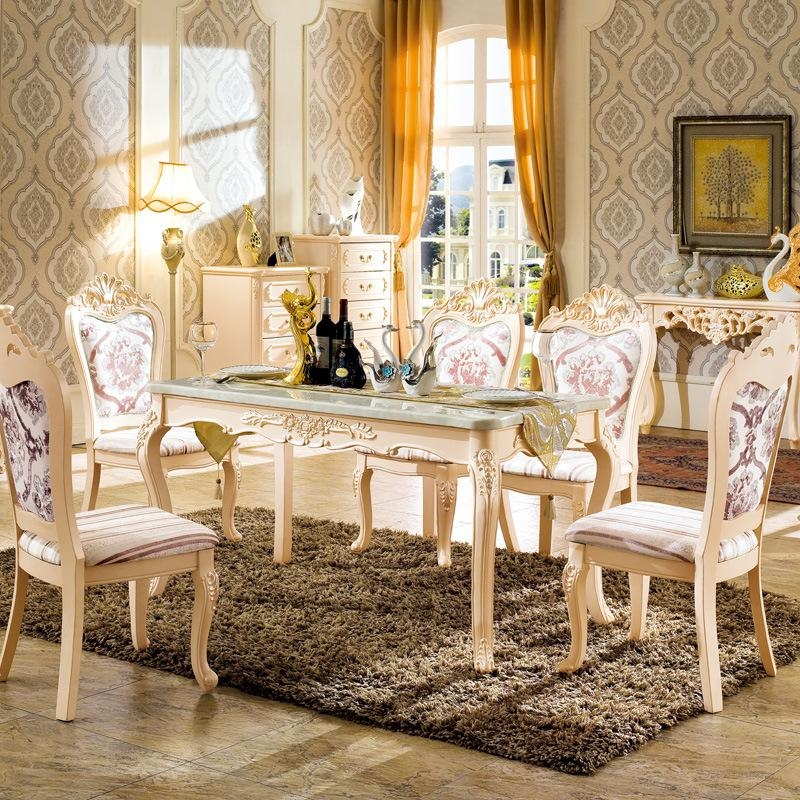 Combination Of European Dinette Dining Table Rectangular Field 912 Intended For Ivory Painted Dining Tables (View 10 of 20)