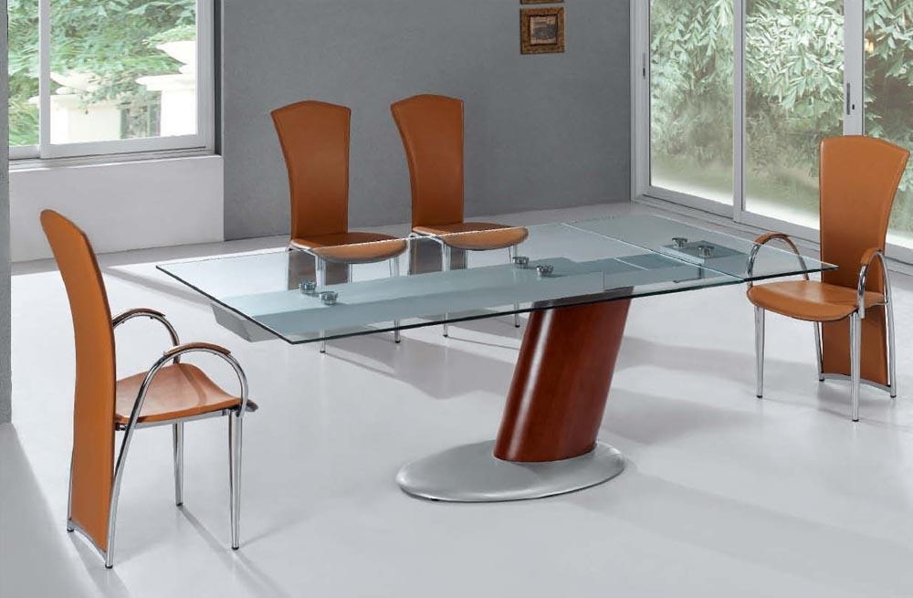 Comet Glass Contemporary Extendable Dining Table With Metal Base Intended For Contemporary Extending Dining Tables (Image 5 of 20)