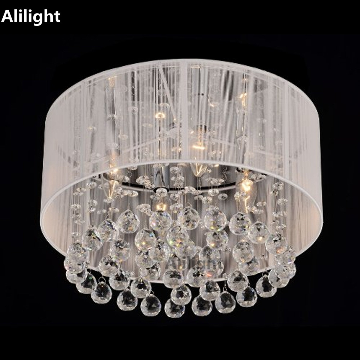 Compare Prices On Crystal Flush Mount Ceiling Lights Online Within Flush Chandelier Ceiling Lights (Image 10 of 25)