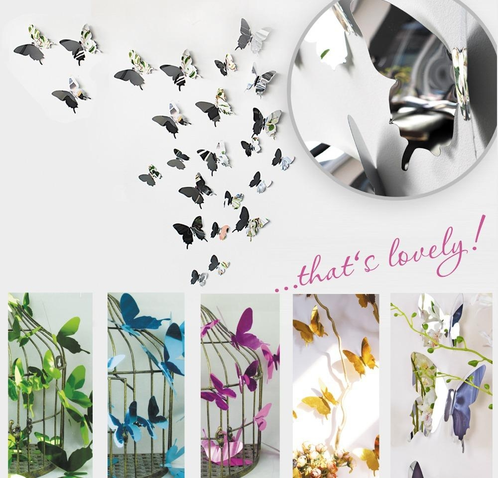 Compare Prices On Stickers Butterfly Wall Mirror  Online Shopping Regarding Butterfly Wall Mirrors (Image 5 of 20)