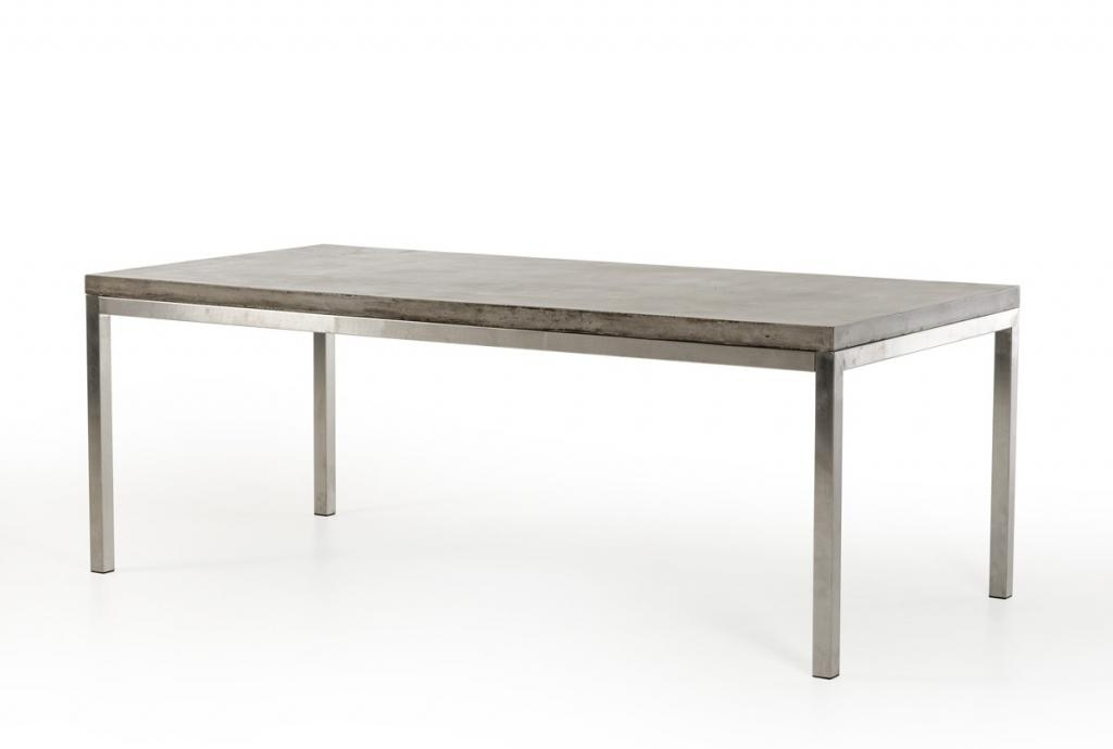 Concrete Chrome Rectangular Dining Table | Modern With Regard To Chrome Dining Tables (View 5 of 20)