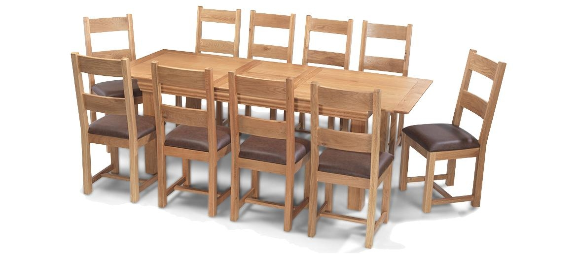 Constance Oak 180 230 Cm Extending Dining Table And 10 Chairs In Extending Dining Table With 10 Seats (Image 7 of 20)