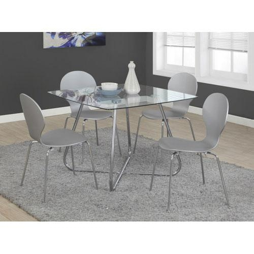 Contemporary 4 Seating Square Casual Dining Table – Chrome Inside Chrome Dining Tables (View 20 of 20)