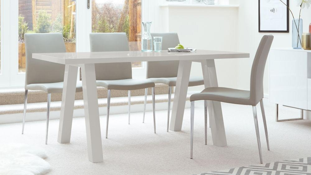 Contemporary 6 Seater Grey Gloss Dining Table | Uk For 6 Seat Dining Tables (Image 8 of 20)