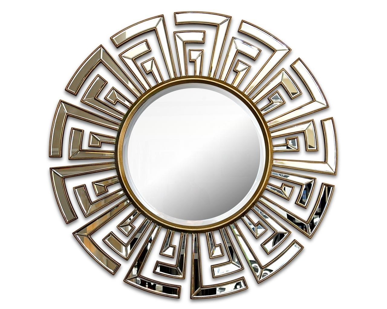Contemporary Art Deco Round Mirror | Statement Circular Mirrors Regarding Art Deco Mirrors (Image 11 of 20)