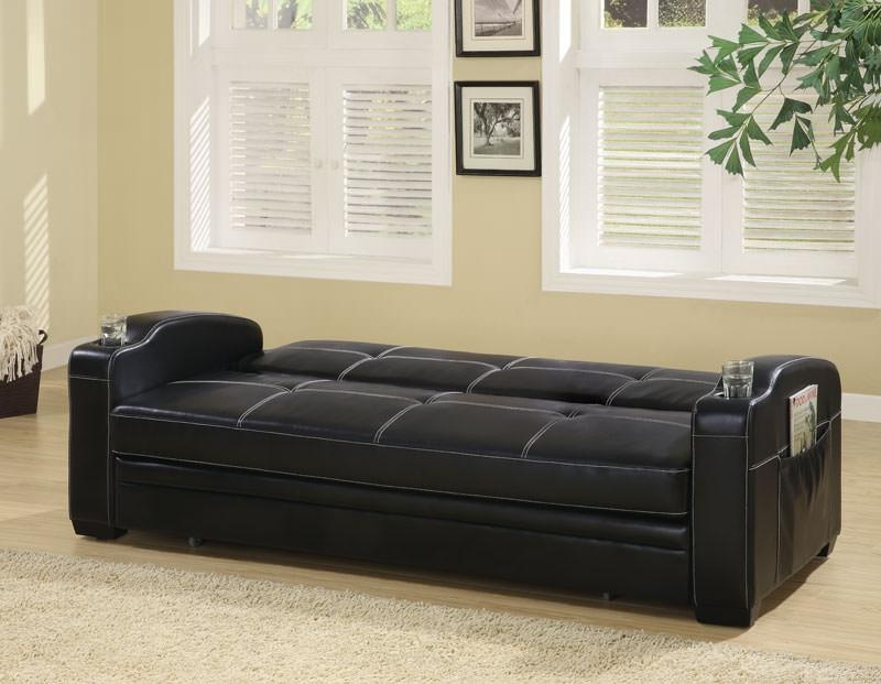 Contemporary Black Vinyl Sofa Bedcoaster Intended For Coaster Futon Sofa Beds (Image 13 of 20)