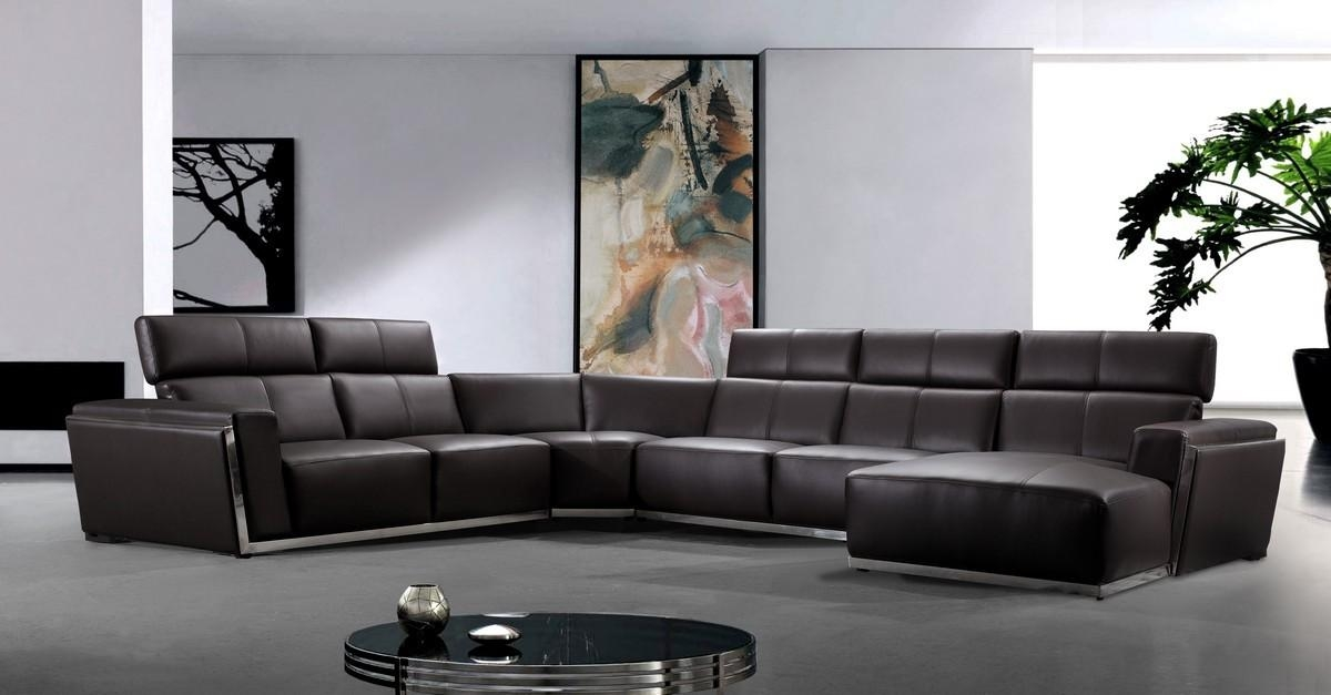 Contemporary Brown Leather Sectional Sofa Regarding Contemporary Brown Leather Sofas (Image 8 of 20)