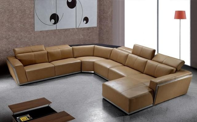 Contemporary Brown Leather Sectional With Retractable Headrests Throughout Contemporary Brown Leather Sofas (Image 9 of 20)