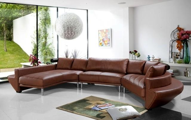 Contemporary Curved Sectional Sofa In Brown Leather – Modern Intended For Contemporary Brown Leather Sofas (Image 10 of 20)