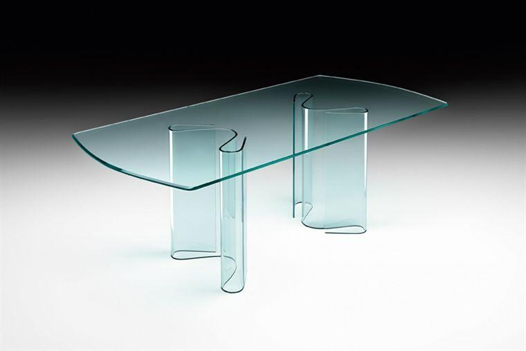 Contemporary Dining Table / Glass / Curved Glass / Rectangular Pertaining To Curved Glass Dining Tables (Image 7 of 20)