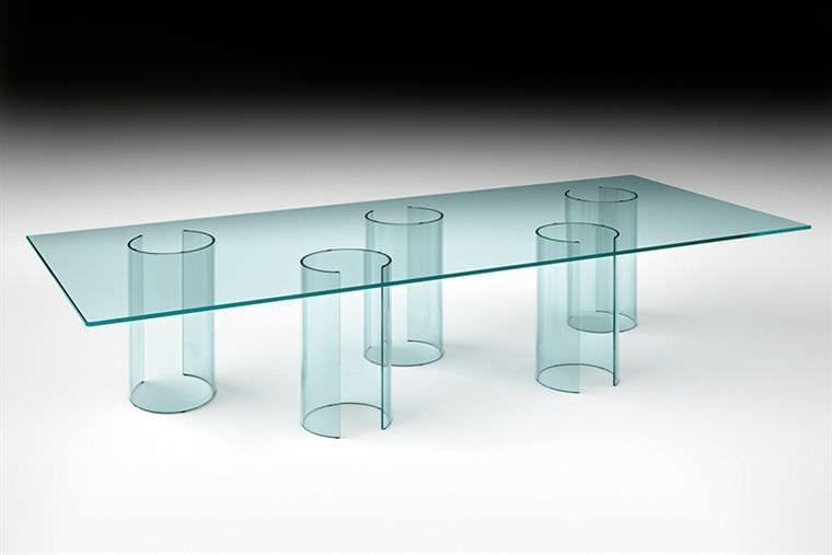 Contemporary Dining Table / Glass / Curved Glass / Rectangular With Curved Glass Dining Tables (Image 8 of 20)