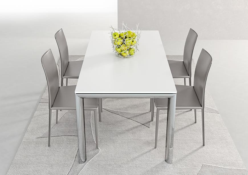 Contemporary Dining Table / Metal / Stained Wood / Melamine Within White Melamine Dining Tables (View 6 of 20)