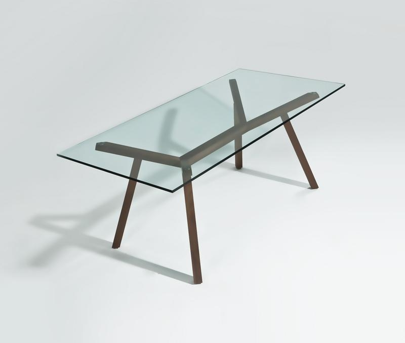 Contemporary Glass Top Dining Table Cheap | Benifox Pertaining To Glass Dining Tables With Wooden Legs (Image 4 of 20)