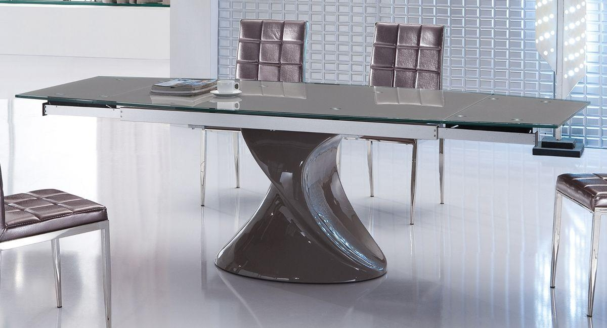 Contemporary Grey Extendable Dining Table With Unique Base Wyoming For Contemporary Extending Dining Tables (Image 6 of 20)