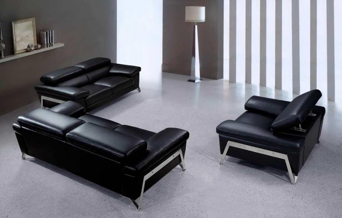 Contemporary Leather Sofa Sets Inside Contemporary Black Leather Sofas (View 16 of 20)