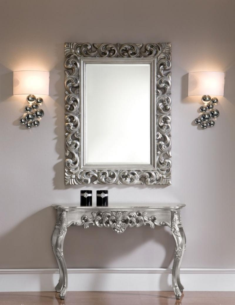 Contemporary Many Pebbles Shaped Rectangular Wall Mirror For Modern Silver Mirror (Image 2 of 20)