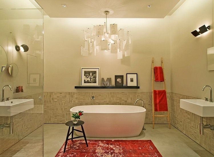 Contemporary Master Bathroom With Chandelier Lang Lequang Pertaining To Wall Mounted Bathroom Chandeliers (Image 10 of 25)
