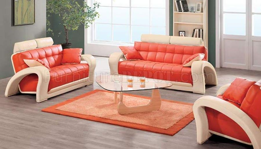 Contemporary Orange & Beige Bonded Leather 7030 Living Room Sofa With Regard To Orange Modern Sofas (Image 3 of 20)