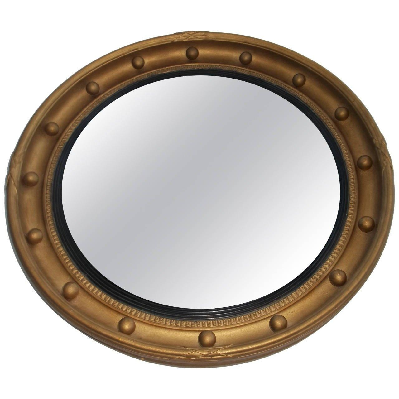 Convex Gilt Mirror, Round, Ribbon And Ball Detail , Circa 1920's Throughout Round Gilt Mirror (Image 8 of 20)