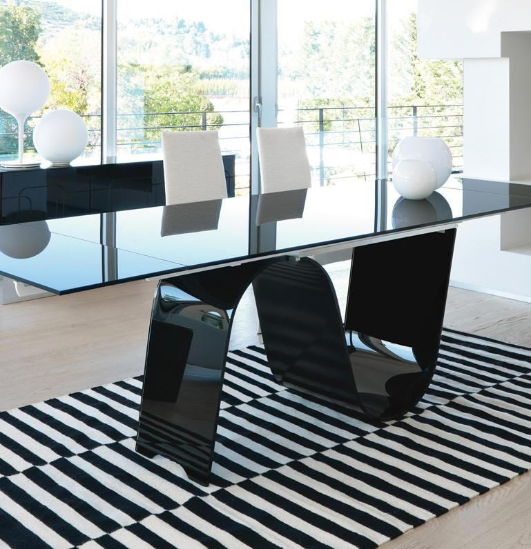 Cool Black Glass Extending Dining Table Extending Glass Dining Pertaining To Extending Glass Dining Tables And 8 Chairs (Image 6 of 20)