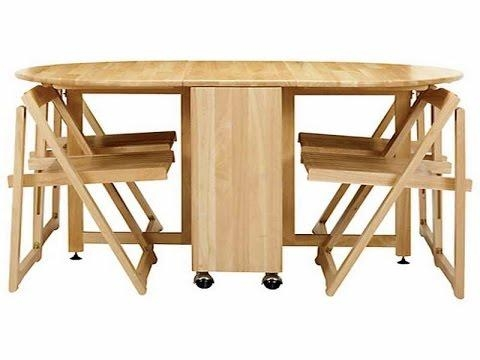 Cool Collapsible Dining Table – Youtube Inside Wood Folding Dining Tables (Image 7 of 20)