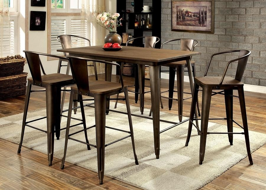 Cooper Industrial Inspired Metal Frame Counter Height 7Pcs Dining Within Cooper Dining Tables (View 9 of 20)