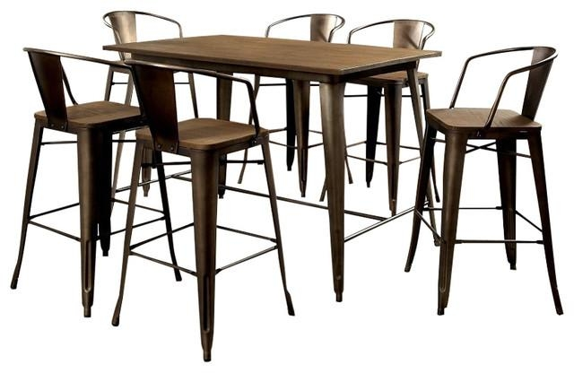 Cooper Industrial Style Metal Frame Counter Height Dining Table 5 Inside Industrial Style Dining Tables (Image 8 of 20)