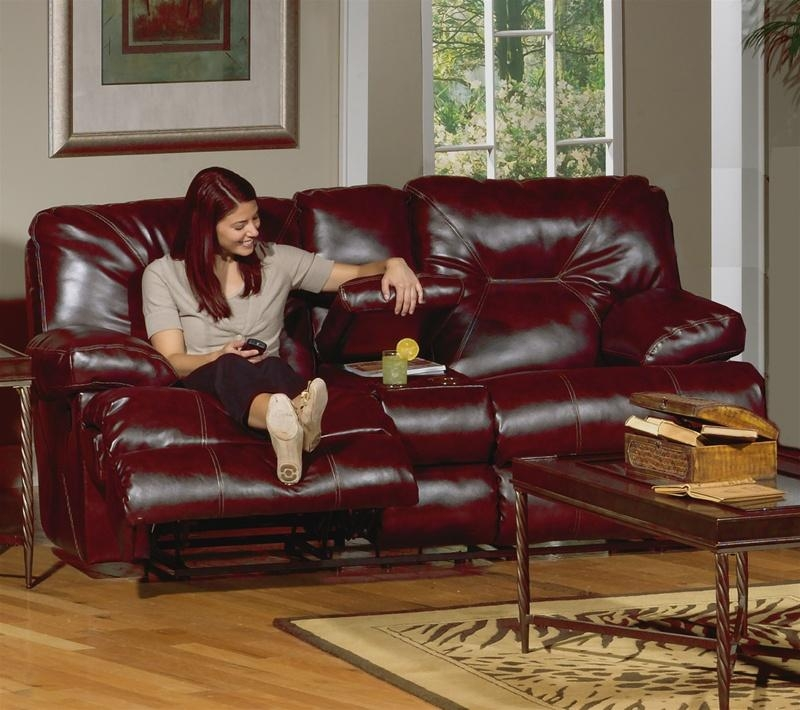 Cortez 2 Piece Dual Reclining Sofa Set In Dark Red Leather Intended For Dark Red Leather Sofas (Image 11 of 20)