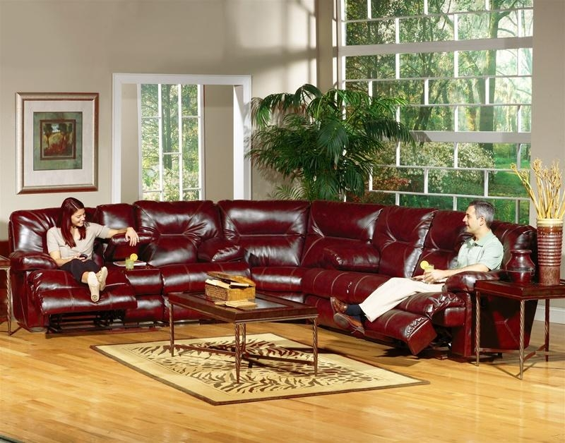 Cortez Dual Reclining Sofa In Dark Red Leathercatnapper – 4291 R Intended For Dark Red Leather Sofas (Image 12 of 20)