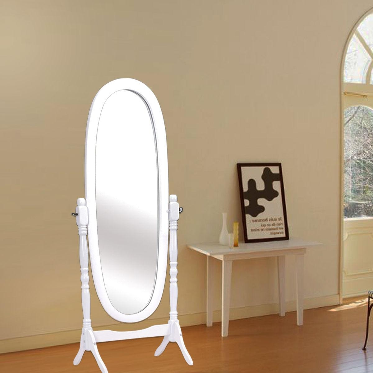 Costway Full Length Dressing Mirror Swivel Wood Cheval Floor With Regard To Floor Dressing Mirror (Image 8 of 20)