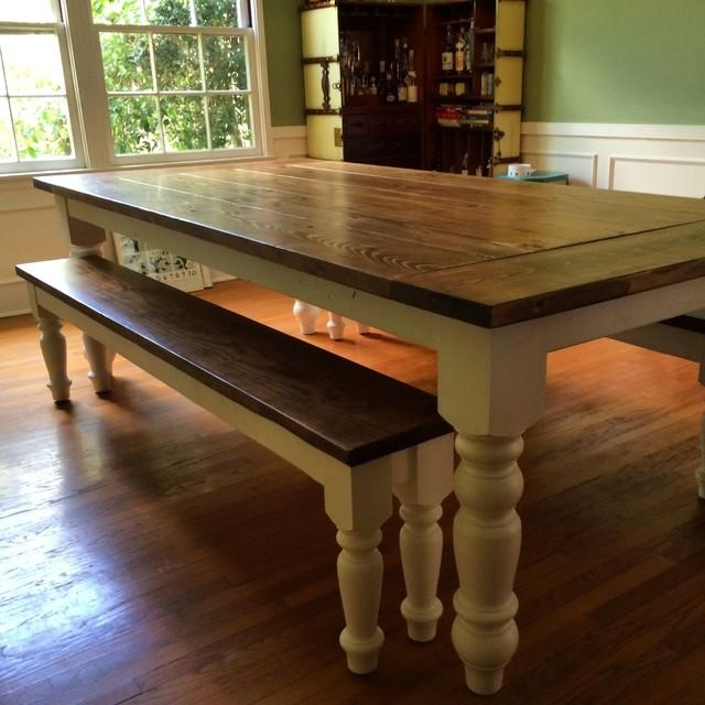 Country Farmhouse Dining Table With Oversized Spun Legs Within Country Dining Tables (Image 14 of 20)