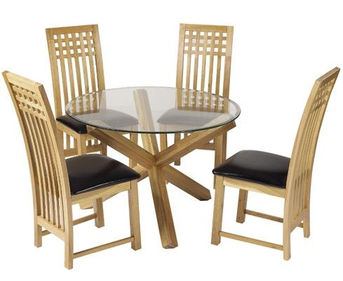 Cowell Round Glass Dining Table In Honey Oak Colour (Image 4 of 20)