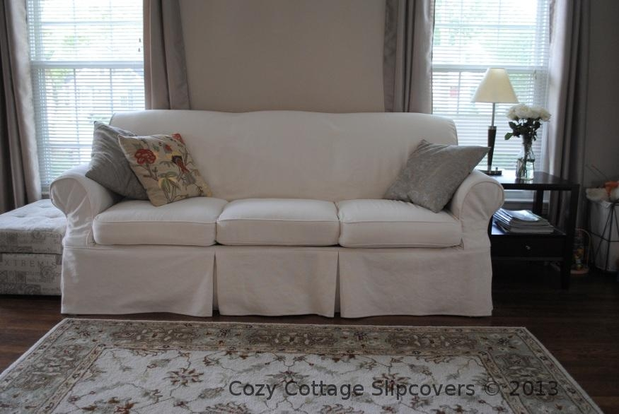 Cozy Cottage Slipcovers: Natural Brushed Canvas Sofa Slipcover Within Canvas Slipcover Sofas (Image 10 of 20)