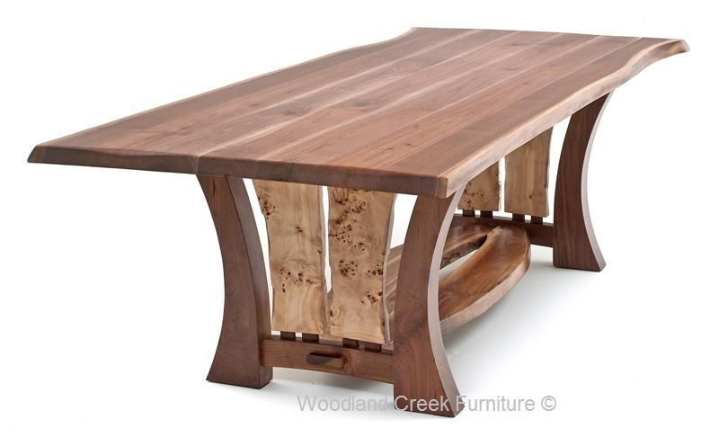 Craftsman Table With Burl Slab, Modern Dining Table, Unique With Regard To Contemporary Base Dining Tables (Image 7 of 20)