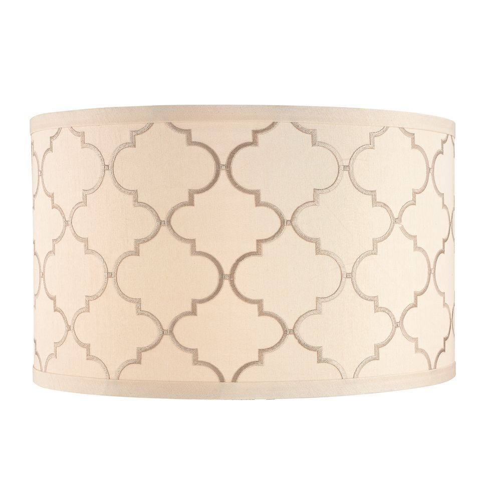 Cream Drum Lamp Shade With Marrakesh Pattern And Spider Assembly Regarding Clip On Drum Chandelier Shades (Image 14 of 25)