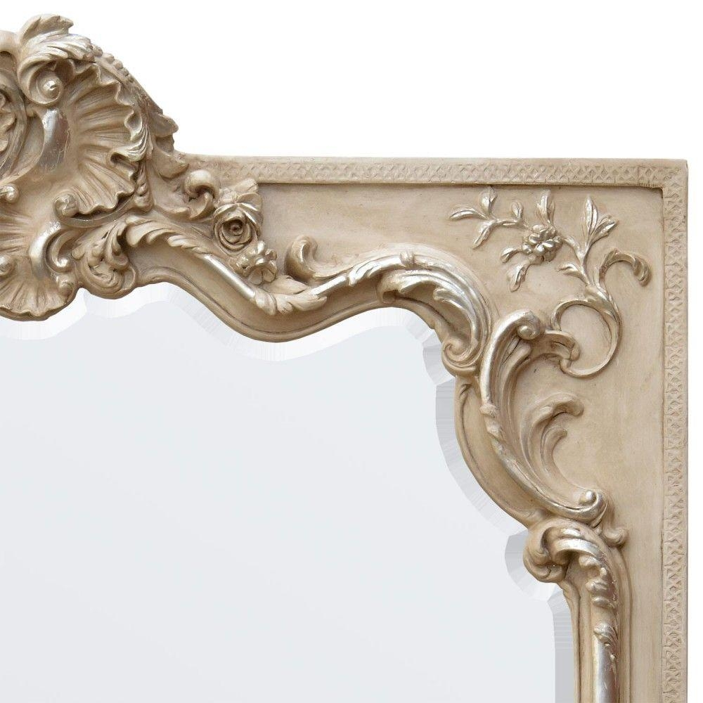 Cream Silver Gilt Leaf Paint Ornate Mirror With Cream Ornate Mirror (Image 2 of 20)